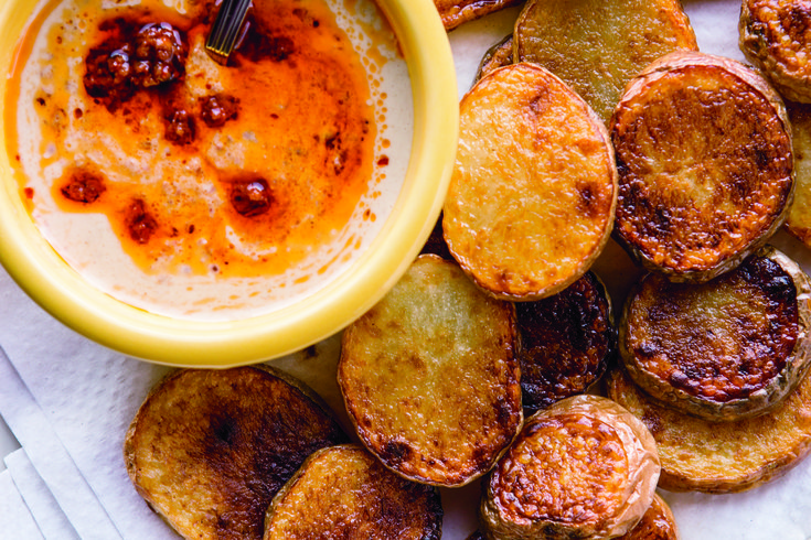 Fried Potatoes with Harissa Tehina