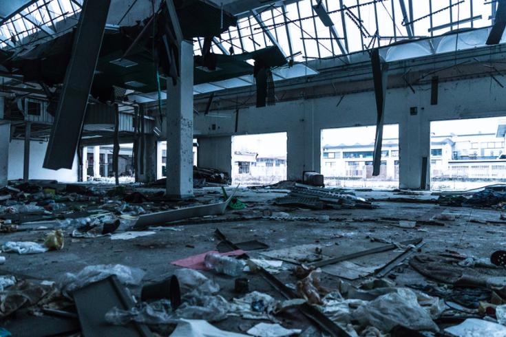 Damaged industrial building