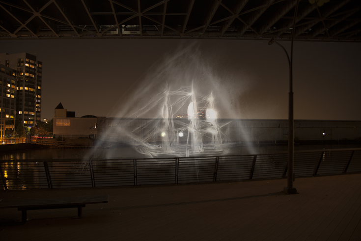 Ghost Ship is a 3D hologram at Race Street Pier