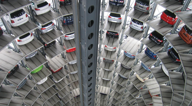 Vehicles Parked inside a warehouse