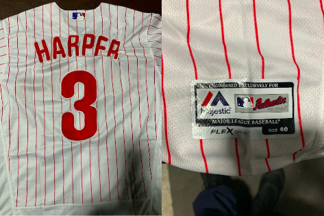 huge discount 9dd96 15ca5 Hundreds of counterfeit Bryce Harper jerseys seized at ...