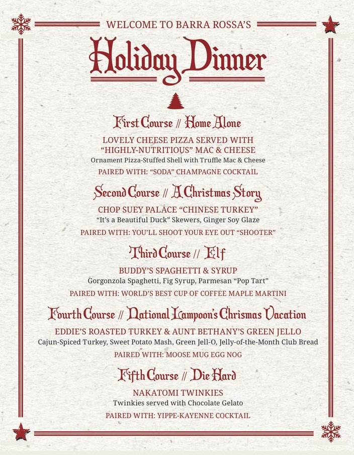 Holiday dishes at Barra Rossa