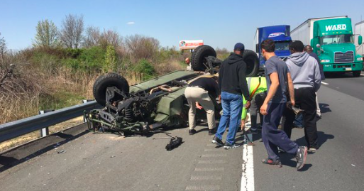 four soldiers injured after military vehicle overturns on n j turnpike phillyvoice. Black Bedroom Furniture Sets. Home Design Ideas