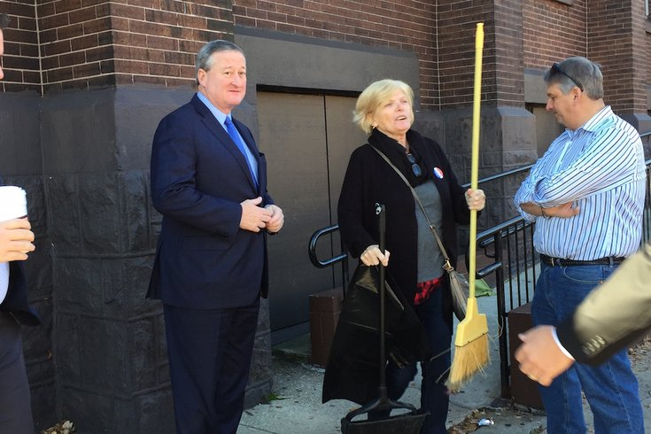 Jim Kenney in South Philly on Election Day