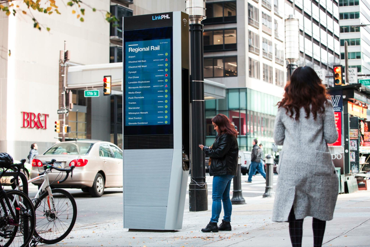 Philly its first LinkPHL free digital WiFi kiosk on Market Street