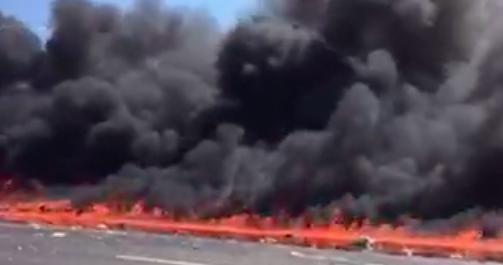 fiery tanker truck crash causes major delays on nj turnpike phillyvoice. Black Bedroom Furniture Sets. Home Design Ideas