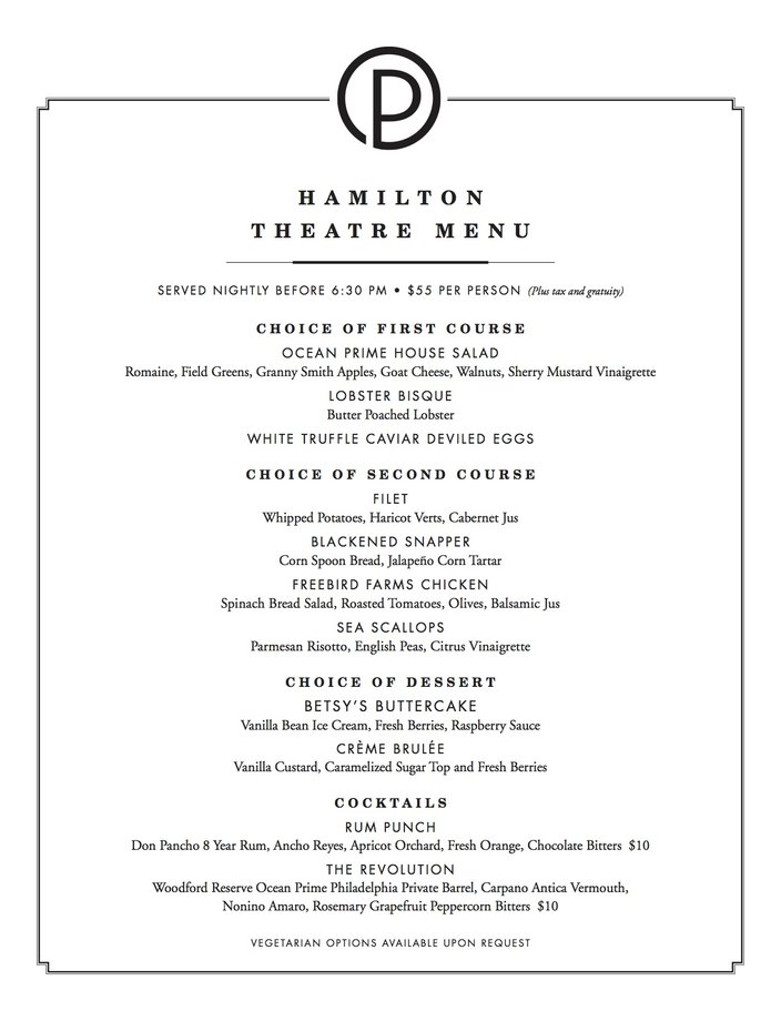 Ocean Prime's pre-theater menu for Hamilton