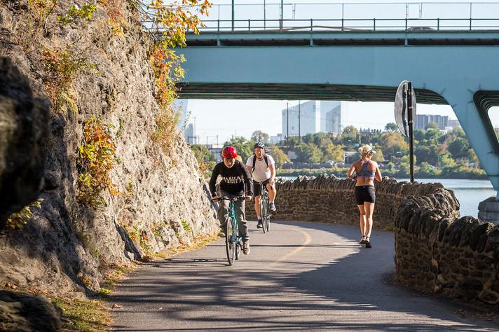 Riding Bikes around Philly trail