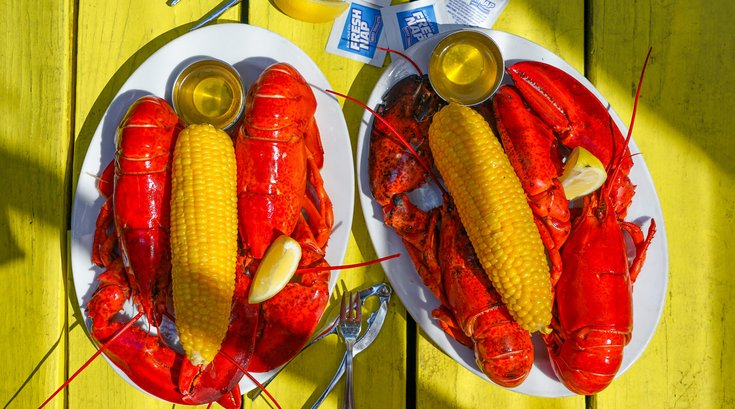 Oyster House Twin Lobster Dinner back summer 2019