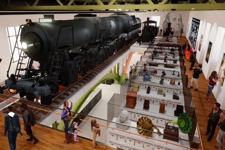 Rendering of the Train Factory in the Franklin Institute