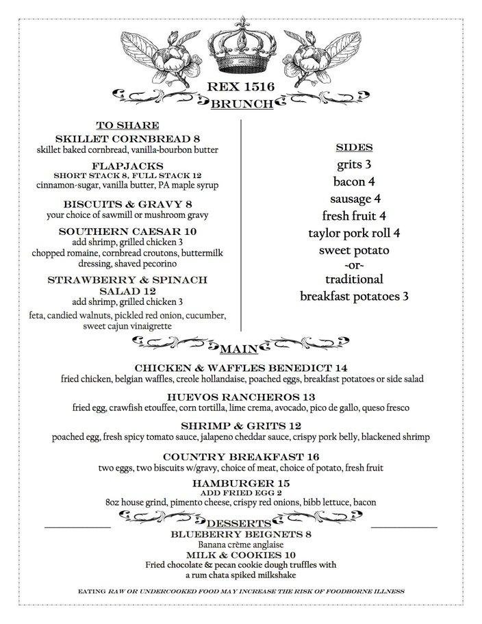 Rex 1516 limited brunch menu