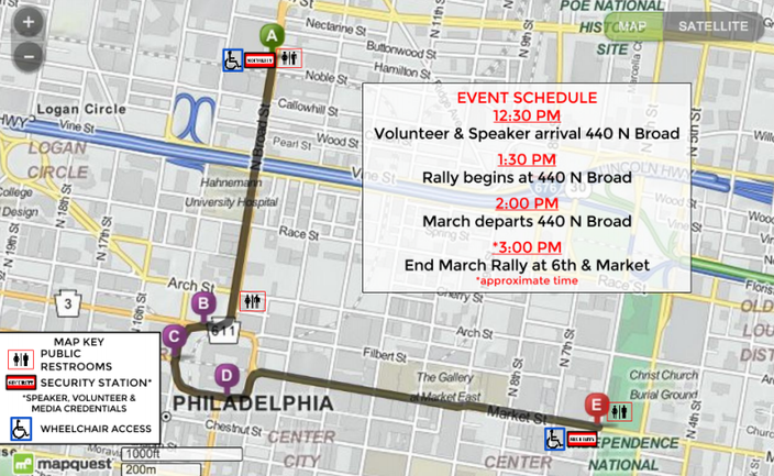 Map of MLK March