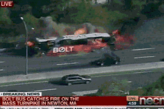 Video captures fiery explosion of BoltBus en route from NY