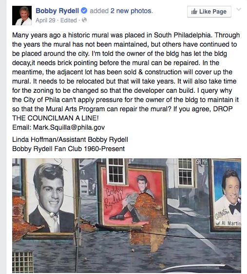 Bobby Rydell Facebook message