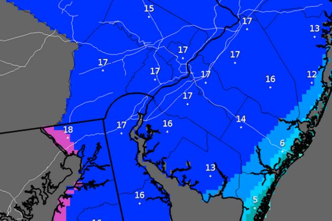 NWS snowfall predictions Thursday AM
