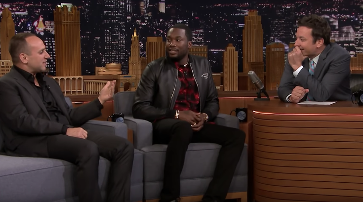 Meek Mill and Sixers co-owner, Michael Rubin, appear on The Tonight Show with Jimmy Fallon