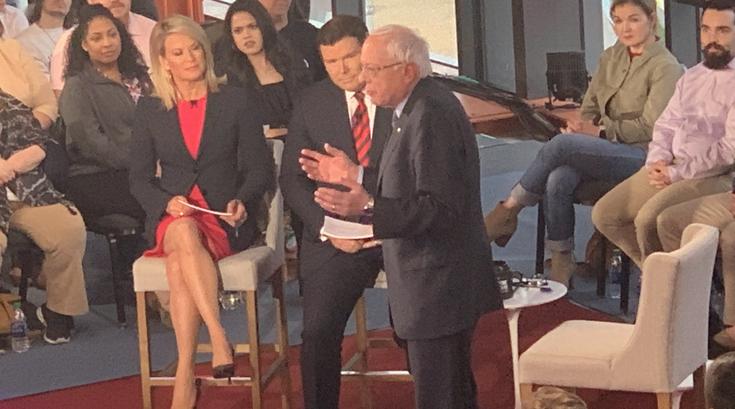 Bernie Sanders, Bret Baier and Martha MacCallum in Bethlehem