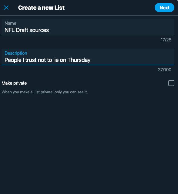 NFL Draft List