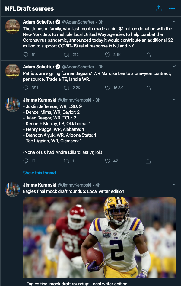 NFL list for draft