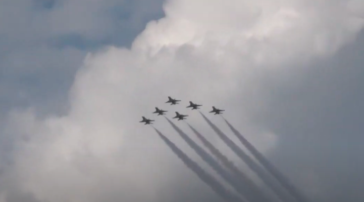 Fourth of July military jet flyover