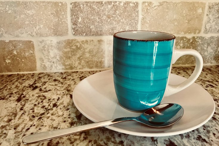 Tea cup on kitchen counter