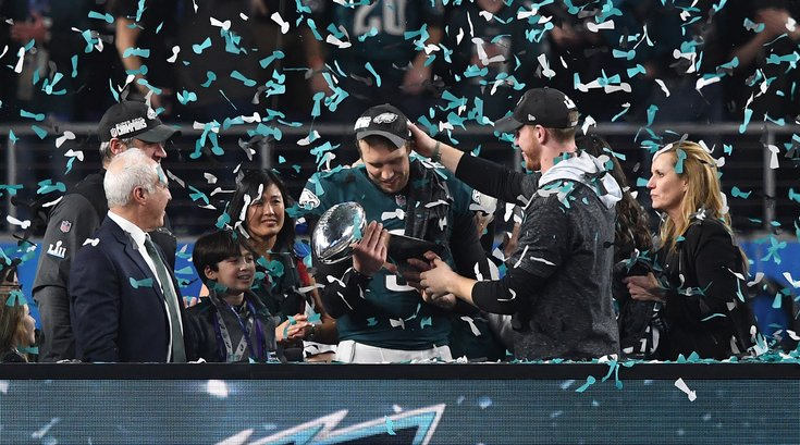 Lurie, Wentz and Foles Super Bowl celebration