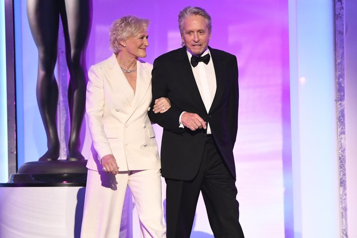 Glenn Close and Michael Douglas present the award for outstanding performance by a female actor in a television movie or limited series