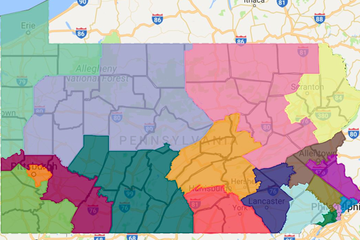 Gov Wolf Proposes Revised Congressional Redistricting Map