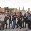 Yards staff in underdog masks on Philly rooftop