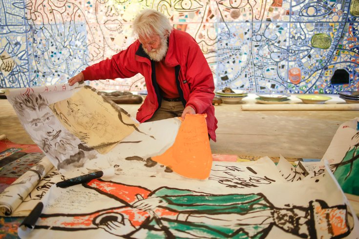 Isaiah Zagar in his studio