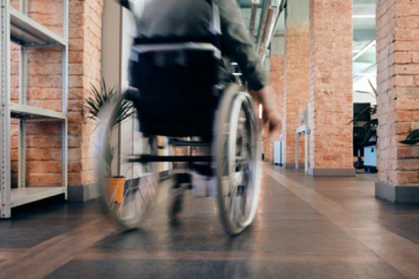 Wheelchair in motion