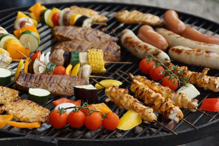 Food Being Cooked on Grill