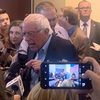 Bernie Sanders in the scrum