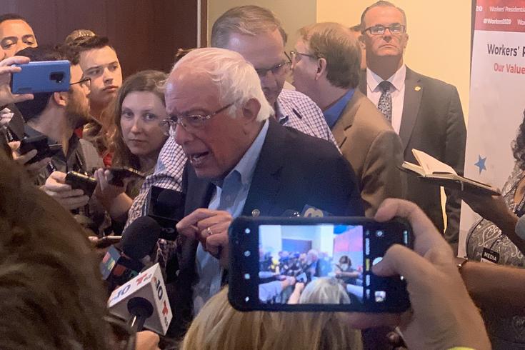 Bernie Sanders in the scrum