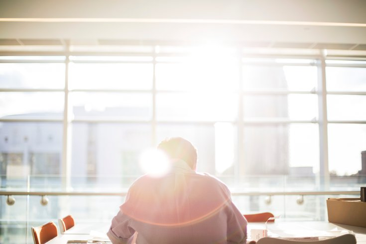 Sitting at Desk with Sunlight