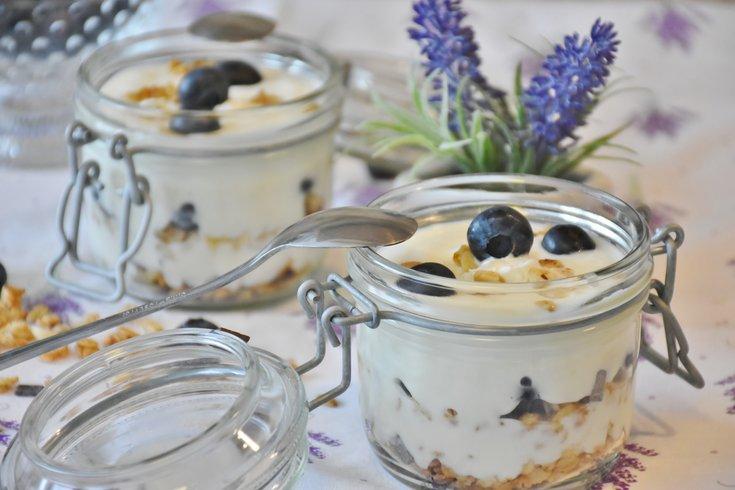 Blueberries and Greek Yogurt in Jar
