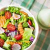 Healthy salad on table