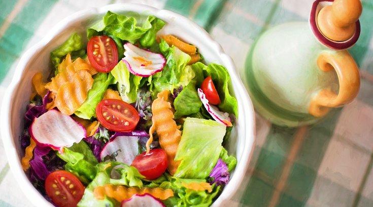 Healthy salad on table