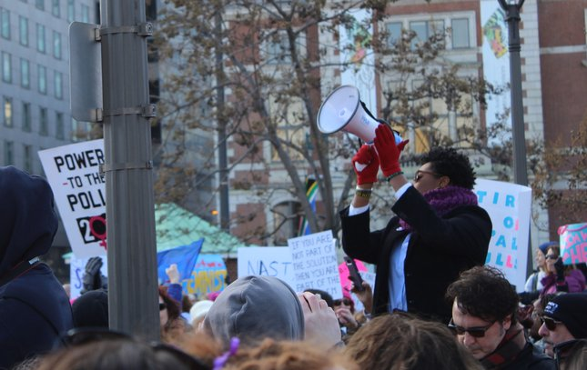 Philly women's march bullhorn