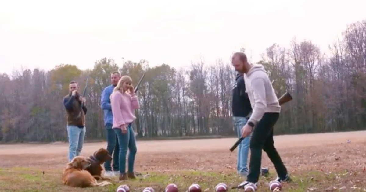Carson Wentz Wife Madison Shoot A Football With A Rifle In Wild