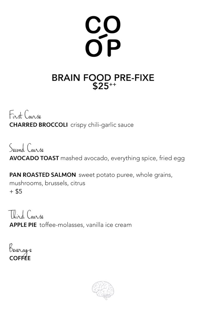 co-op brain food finals menu