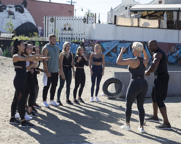 Colton and Terry Crews lead a Bachelor workout
