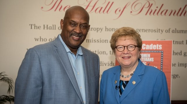 Limited - U.S. Rep. Dwight Evans pictured with College President Carol Jean Vale