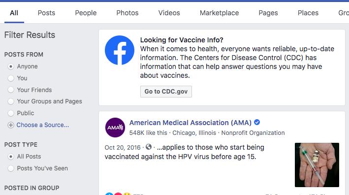 Facebook Vaccine Info