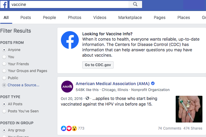 Facebook debuts new measure to halt spread of vaccine