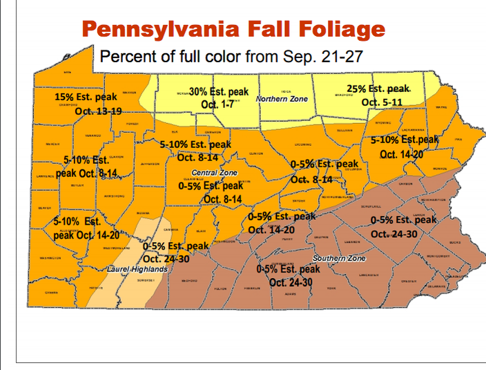 Foliage Map New York 2017.Map Here Are The Best Times To View Fall Foliage Across