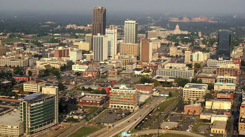 City Skyline from aerial view