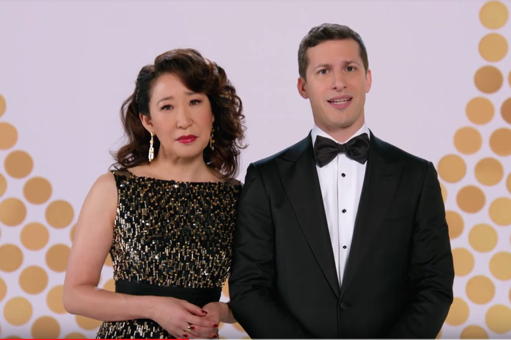 Andy Samberg and Sandra Oh host the Golden Globes this Sunday