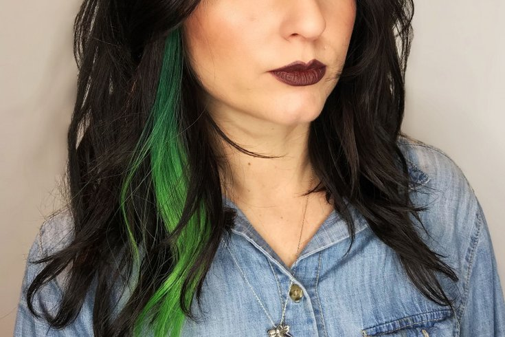 Green hair extensions for Super Bowl parade