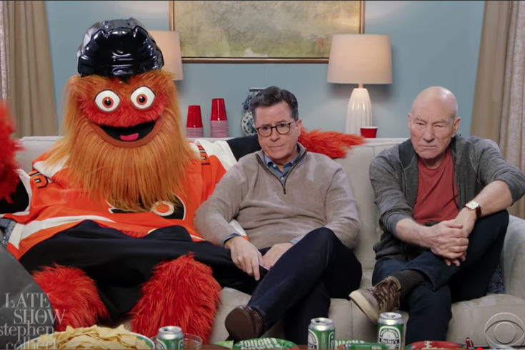 Gritty parties with Stephen Colbert in Super Bowl opener